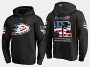 Wholesale Cheap Ducks #42 Josh Manson NHL Banner Wave Usa Flag Black Hoodie