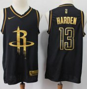 Wholesale Cheap Rockets #13 James Harden Black Gold Basketball Swingman Limited Edition Jersey
