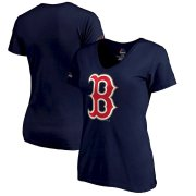 Wholesale Cheap Boston Red Sox Majestic Women's 2019 Gold Program Logo V-Neck T-Shirt Navy