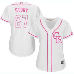 Wholesale Cheap Rockies #27 Trevor Story White/Pink Fashion Women\'s Stitched MLB Jersey