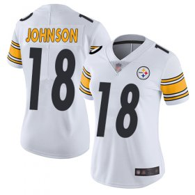 Wholesale Cheap Nike Steelers #18 Diontae Johnson White Women\'s Stitched NFL Vapor Untouchable Limited Jersey