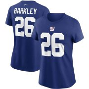 Wholesale Cheap New York Giants #26 Saquon Barkley Nike Women's Team Player Name & Number T-Shirt Royal