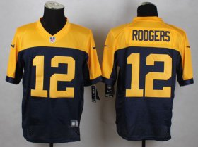Wholesale Nike Packers #12 Aaron Rodgers Navy Blue Alternate Men\'s Stitched NFL New Elite Jersey