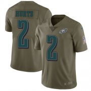Wholesale Cheap Nike Eagles #2 Jalen Hurts Olive Men's Stitched NFL Limited 2017 Salute To Service Jersey