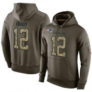 Wholesale Cheap NFL Men's Nike New England Patriots #12 Tom Brady Stitched Green Olive Salute To Service KO Performance Hoodie