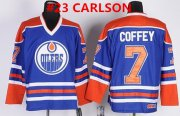 Wholesale Cheap Men's Edmonton Oilers #23 CARLSON Royal Blue Throwback CCM Jersey