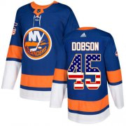 Wholesale Cheap Adidas Islanders #45 Noah Dobson Royal Blue Home Authentic USA Flag Stitched NHL Jersey