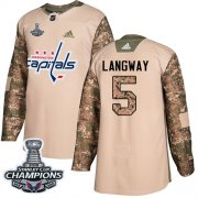 Wholesale Cheap Adidas Capitals #5 Rod Langway Camo Authentic 2017 Veterans Day Stanley Cup Final Champions Stitched NHL Jersey