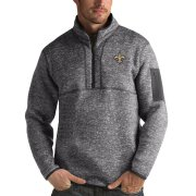 Wholesale Cheap Men's New Orleans Saints Charcoal Antigua Fortune Quarter-Zip Pullover Jacket