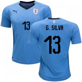 Wholesale Cheap Uruguay #13 G.Silva Home Soccer Country Jersey
