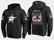 Wholesale Cheap Stars #23 Esa Lindell NHL Banner Wave Usa Flag Black Hoodie