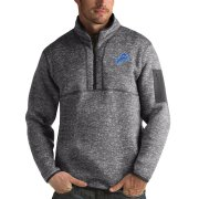 Wholesale Cheap Detroit Lions Antigua Fortune Quarter-Zip Pullover Jacket Charcoal