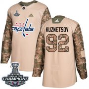 Wholesale Cheap Adidas Capitals #92 Evgeny Kuznetsov Camo Authentic 2017 Veterans Day Stanley Cup Final Champions Stitched Youth NHL Jersey