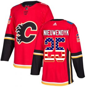 Wholesale Cheap Adidas Flames #25 Joe Nieuwendyk Red Home Authentic USA Flag Stitched NHL Jersey