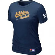 Wholesale Cheap Women's Oakland Athletics Nike Short Sleeve Practice MLB T-Shirt Midnight Blue
