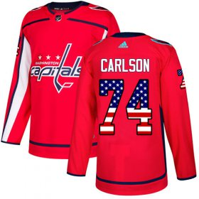 Wholesale Cheap Adidas Capitals #74 John Carlson Red Home Authentic USA Flag Stitched NHL Jersey