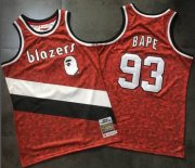 Wholesale Cheap A Bathing Ape Blazers #93 Bape Red Stitched Basketball Jersey