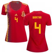 Wholesale Cheap Women's Spain #4 Bartra Red Home Soccer Country Jersey