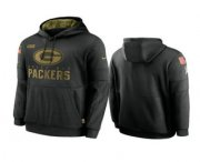 Wholesale Cheap Men's Green Bay Packers Black 2020 Salute to Service Sideline Performance Pullover Hoodie