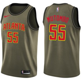 Wholesale Cheap Nike Atlanta Hawks #55 Dikembe Mutombo Green Salute to Service NBA Swingman Jersey