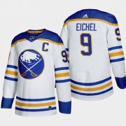 Cheap Buffalo Sabres #9 Jack Eichel Men's Adidas 2020-21 Away Authentic Player Stitched NHL Jersey White