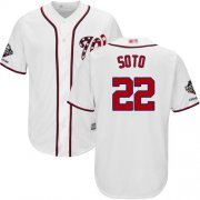 Wholesale Cheap Nationals #22 Juan Soto White New Cool Base 2019 World Series Champions Stitched MLB Jersey