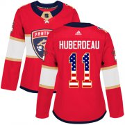 Wholesale Cheap Adidas Panthers #11 Jonathan Huberdeau Red Home Authentic USA Flag Women's Stitched NHL Jersey
