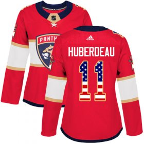 Wholesale Cheap Adidas Panthers #11 Jonathan Huberdeau Red Home Authentic USA Flag Women\'s Stitched NHL Jersey
