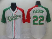 Wholesale Cheap Dodgers #22 Clayton Kershaw White Red/Green Split Cool Base Stitched MLB Jersey