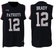Wholesale Cheap Nike Patriots #12 Tom Brady Navy Blue Team Color Men's Stitched NFL Limited Tank Top Jersey