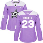Cheap Adidas Stars #23 Esa Lindell Purple Authentic Fights Cancer Women's Stitched NHL Jersey