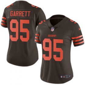Wholesale Cheap Nike Browns #95 Myles Garrett Brown Women\'s Stitched NFL Limited Rush Jersey