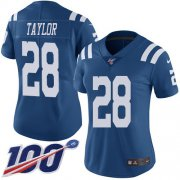 Wholesale Cheap Nike Colts #28 Jonathan Taylor Royal Blue Women's Stitched NFL Limited Rush 100th Season Jersey
