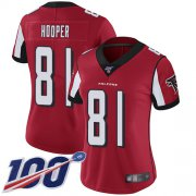 Wholesale Cheap Nike Falcons #81 Austin Hooper Red Team Color Women's Stitched NFL 100th Season Vapor Limited Jersey