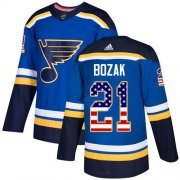 Wholesale Cheap Adidas Blues #21 Tyler Bozak Blue Home Authentic USA Flag Stitched NHL Jersey