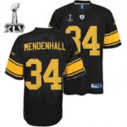Wholesale Cheap Steelers #34 Rashard Mendenhall Black With Yellow Number Super Bowl XLV Stitched NFL Jersey
