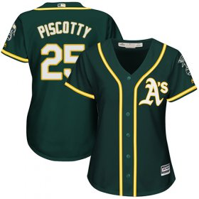 Wholesale Cheap Athletics #25 Stephen Piscotty Green Alternate Women\'s Stitched MLB Jersey
