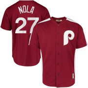 Wholesale Cheap Philadelphia Phillies #27 Aaron Nola Majestic 1979 Saturday Night Special Cool Base Cooperstown Player Jersey Maroon