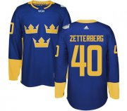 Wholesale Cheap Team Sweden #40 Henrik Zetterberg Blue 2016 World Cup Stitched NHL Jersey