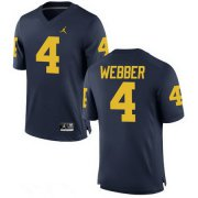Wholesale Cheap Men's Michigan Wolverines #4 Chirs Webber Retired Navy Blue Stitched College Football Brand Jordan NCAA Jersey