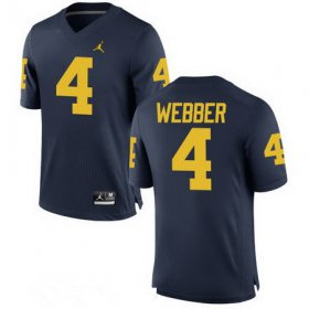 Wholesale Cheap Men\'s Michigan Wolverines #4 Chirs Webber Retired Navy Blue Stitched College Football Brand Jordan NCAA Jersey