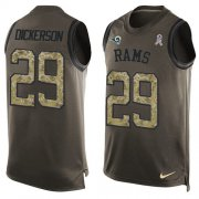 Wholesale Cheap Nike Rams #29 Eric Dickerson Green Men's Stitched NFL Limited Salute To Service Tank Top Jersey