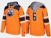 Wholesale Cheap Oilers #6 Adam Larsson Orange Name And Number Hoodie