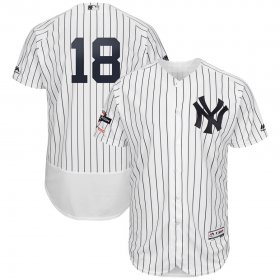 Wholesale Cheap New York Yankees #18 Didi Gregorius Majestic 2019 Postseason Authentic Flex Base Player Jersey White Navy