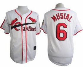 Wholesale Cheap Cardinals #6 Stan Musial White Cooperstown Throwback Stitched MLB Jersey