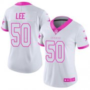 Wholesale Cheap Nike Cowboys #50 Sean Lee White/Pink Women's Stitched NFL Limited Rush Fashion Jersey