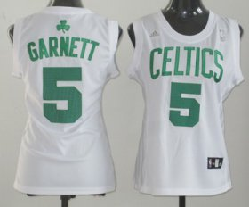 Wholesale Cheap Boston Celtics #5 Kevin Garnett White Womens Jersey