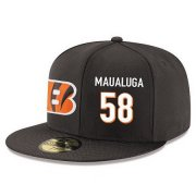 Wholesale Cheap Cincinnati Bengals #58 Rey Maualuga Snapback Cap NFL Player Black with White Number Stitched Hat