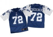 Wholesale Nike Cowboys #72 Travis Frederick Navy Blue/White Throwback Men's Stitched NFL Elite Jersey