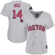 Wholesale Cheap Red Sox #14 Jim Rice Grey Road 2018 World Series Champions Women's Stitched MLB Jersey